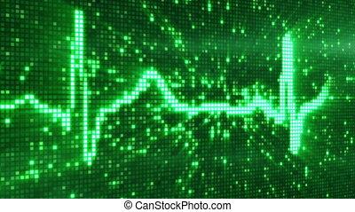 digital pixel EKG electrocardiogram pulse green, computer...