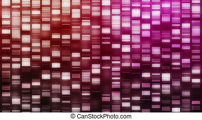 Descending DNA strands in pink, purple and orange on black...
