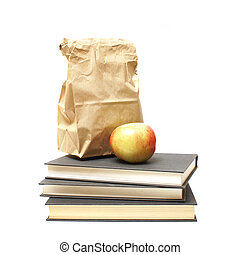 Lunch and Textbooks - A healthy lunch rests ontop of three...
