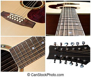 set of four view of an acoustic twelve strings guitar