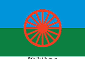 Gypsy Roma flag - vector - Gypsy Roma flag - red wheel...