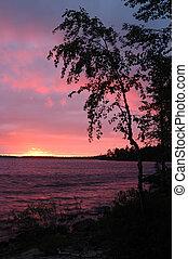 hermoso, ocaso, Karelia, Engozero, lago, Nothern, Rusia