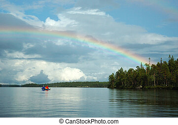 Double rainbow during kayaking in Karelia republic,Engozero...