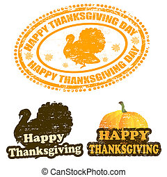 Happy Thanksgiving stamps - Set of grunge rubber stamps with...