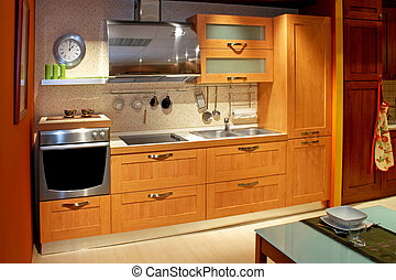 Apartment kitchen wide - Modern wooden kitchen counter in...