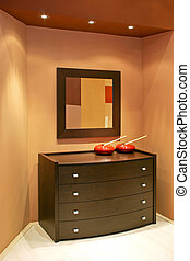 Drawer and mirror - Brown drawer with big mirror and red...
