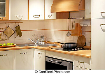 Kitchen counter 3 - Modern kitchen counter with wooden...