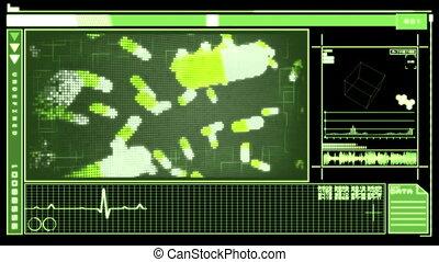 Digital interface featuring falling - Medical digital...