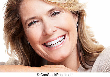 boldog, idősebb ember, nő