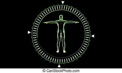 Figure of man revolving in circle - Green figure of man...