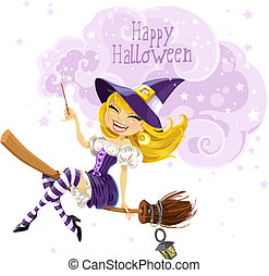 Cute witch flying on a broom and conjures wish Happy...