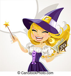 Cute young witch with magick wand and book