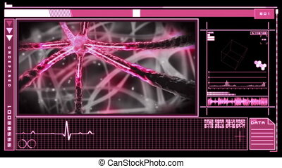 Interface showing neuron pulsing - Digital interface showing...