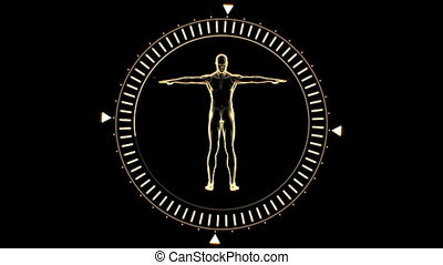 Figure of man revolving in circle - Orange figure of man...