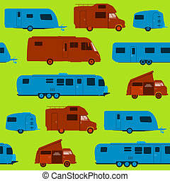 Seamless Caravan Pattern - Green Brown and Blue Silhouette...