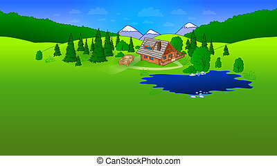 Hut in Forrest Scene - Wooden house surrounded by green...