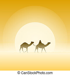 Two Camels and Sun - Travel adventure with traditional...