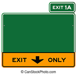 Exit Only Sign - Green and yellow highway sign defining...
