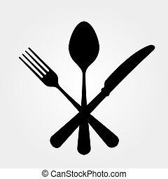 Black Cutlery - Black cutlery setting isolated on white...