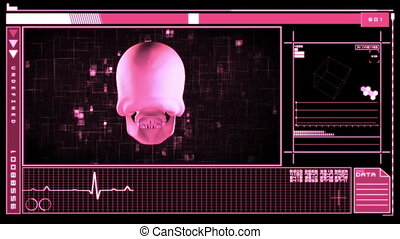Digital interface featuring skull - Medical digital...