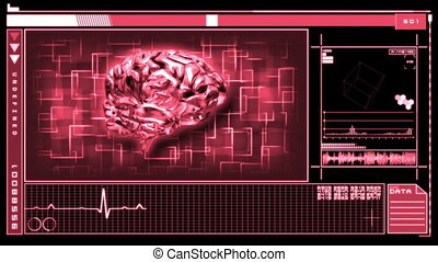 Digital interface featuring brain - Medical digital...