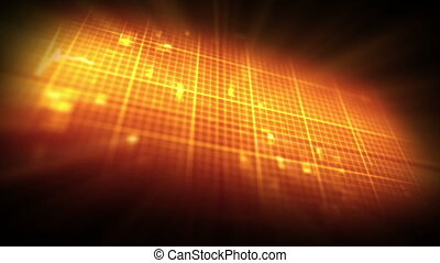 Orange ECG on grid background - Orange ECG in moving orange...