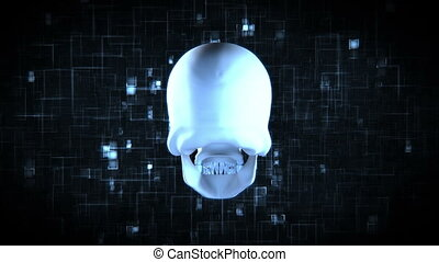 Revolving blue skull on moving black and blue digital...