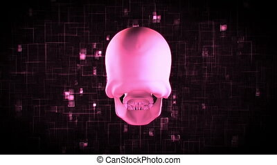 Revolving pink skull on moving, digital pink and black...