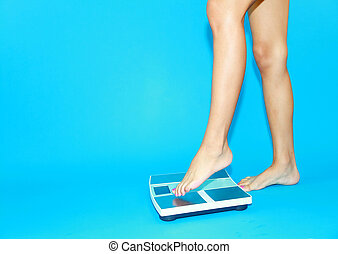 Woman who get on the scale