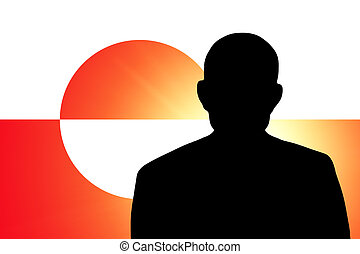 The Greenland flag and the silhouette of an unknown man