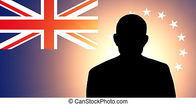 The Cook Islands flag and the silhouette of an unknown man