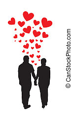 couple holding hands with hearts vector illustration