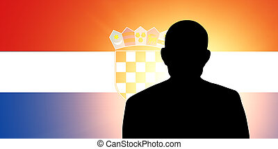 The Croatian flag and the silhouette of an unknown man