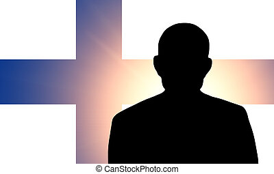 The Finnish flag and the silhouette of an unknown man