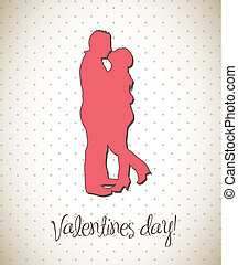 valentines day - couple silhouette, valentines day card...