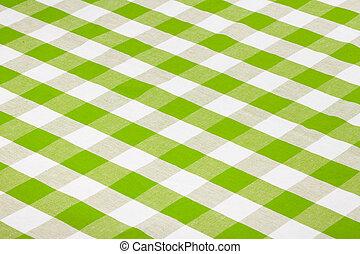 green checkered tablecloth