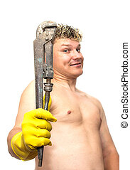 wrench in yellow rubber gloves on white background