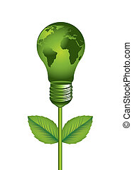 energy saving - green electric bulb with map over white...