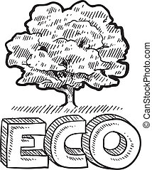 Eco or nature emblem sketch - Doodle style Eco, Nature, or...
