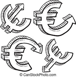 Euro currency value sketch - Doodle style international...