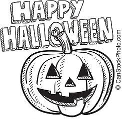 Happy Halloween pumpkin sketch - Doodle style Happy...