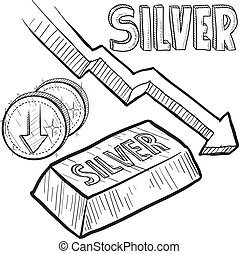 Silver prices down sketch