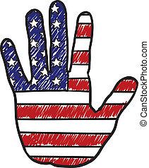 Patriotic American hand sketch - Doodle style patriotic hand...