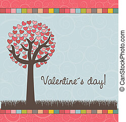 valentines day - tree with hearts, valentines day card....