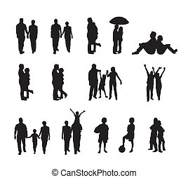 people silhouettes isolated over white background vector...