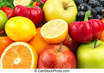 fresh fruits and vegetables -  set of fruits and vegetables