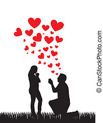 proposal wedding - couple silhouette with hearts, proposal...