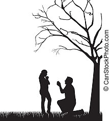 couple silhouette under tree over white background vector