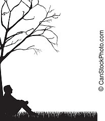man sitting silhouette over grass, white background. vector