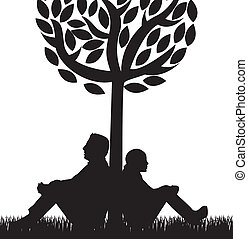 couple under tree over white background. vector illustration